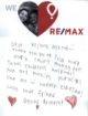 Special RE/MAX Thank You Note filled with Love from Deonc, Houston Miracle Child
